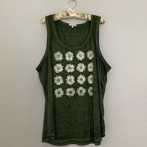 Maurices Green Daisy Print Graphic Tank Top 2